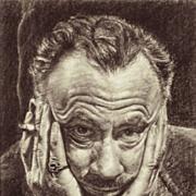 SALE American Art - Mario Castro: John Steinbeck. Vintage Portrait Drawing