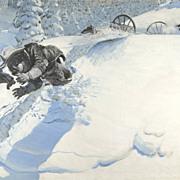 American Art - Harold Von Schmidt: He Rolled Off the Shoulder. 1946 Original Illustration Art