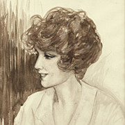 American Art - 1914 Portrait of a Flapper -- Vintage Framed Drawing on Paper
