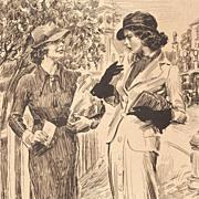 "American Art - James Montgomery Flagg: ""The Unexpected News"", Vintage Original Print"