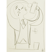 Jean Cocteau : Study for Le Pauvre Matelot, framed drawing on paper.