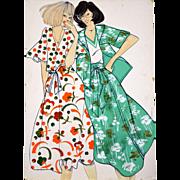 Confidence - Large Vintage French Fashion Illustration Original Drawing
