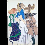 Teens - Large Vintage French Fashion Illustration Original Drawing