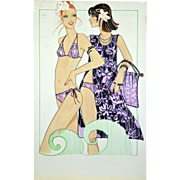 To the Beach - Large Vintage French Fashion Illustration Original Drawing