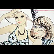 Detente - Large Vintage French Fashion Illustration Original Drawing