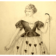 American Art - Sheldon: Fashion Model holding a string - 1921 Illustration Art Original Drawin