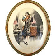 Louis Icart - Rare 1928 Signed hand-colored Etching in Oval Frame