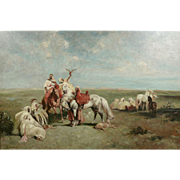 French Orientalist School : The Falconer, Large Signed Vintage Oil on Canvas