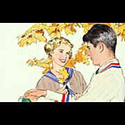 Paul Burns: 2 Romantic Charcoal and Watercolor Illustration Studies
