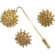 Castlecliff  Stick Pin Clip Earrings Set 1950-60 Goldtone Costume Jewelry