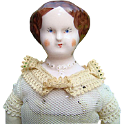 SOLD 1940s Ruth Gibbs Pink Tint Godeys Lady China Head Doll in Original Underclothes