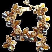 C1960 Juliana DeLizza + Elster Bracelet Earrings AB Beads Rhinetone Set