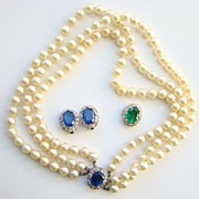 C1950 Kramer Simulated Pearl Necklace Matching Earrings Set Signed Regal
