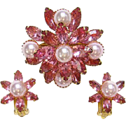 Vintage Beau Jewels Pink Rhinestone Faux Pearl Brooch Pin Clip Earring Set Signed