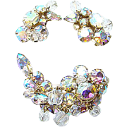Vintage Kramer AB Rhinestone Bead Brooch Earrings Set