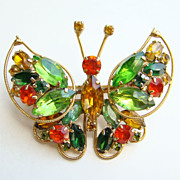 Vintage Weiss Pin Trembler Rhinestone Butterfly Watermelon Green Amber Signed