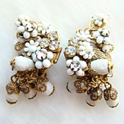 C1950 Originals by Robert Earrings White Seed Bead Filagree Signed