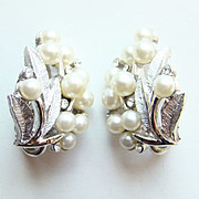 SOLD Vintage 1950s Crown Trifari Silvertone Faux Pearl Floral Earrings Mint