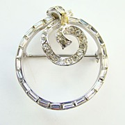 Gorgeous Deco C1935 Coro Craft Circular Pin Brooch Rhodium Plated