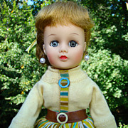 1957 Nancy Ann Doll Blonde Ponytail in 319 Yellow Striped Outfit