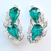 Vint Kramer Flawed Emerald Green Rhinestone Earrings Signed Empress Collection