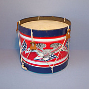 Vintage Patriotic Child Lithograph Tin Toy Drum with Eagle Flag