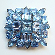 Vintage Sapphire Blue Rhinestone Brooch Pin Brilliant High Quality