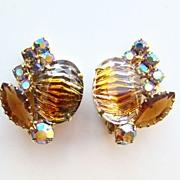 Vintage Tiger Stripe Topaz Art Glass Rhinestone Clip Earrings Unsigned