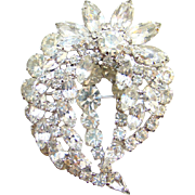 Vintage Brilliant Clear Ice Rhinestone Floral Brooch Rhodium Plated Fabulous