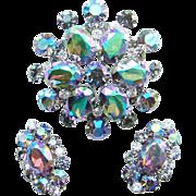 Juliana DeLizza & Elster Brooch Earrings Rhinestone AB Heliotrope Book Piece