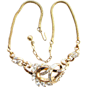 C1950 Crown Trifari Rhinestone Choker Necklace Gold Tone Rhinestone Pat Pend