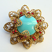 Vintage Miriam Haskell Brooch Faux Turquoise Red Rhinestone Signed