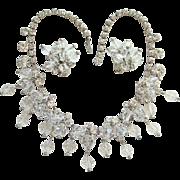Juliana DeLizza & Elster Clear Rhinestone Crystal Bead Cascade Necklace Earrings Book Piece