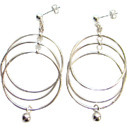 Modernist Sterling Silver Pierced Earrings Norway Plus Design ND Bag #GG Unused