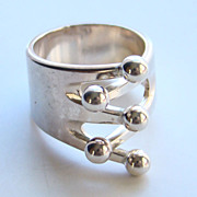 Anna Greta Eker Sterling Silver Ring Norway Plus Size 6.75 with ND Bag #HH