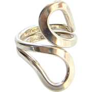 Norway Plus Sterling Silver Modernist Ring Size 6.5 ND Bag #U