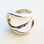 Norway Plus Design Ring Modernist Sterling Silver Size 5.5 with ND Bag AA