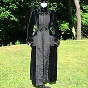 SOLD Victorian 19thC Bustle Back Black Velvet Coat Silk Lavish Trim Museum Quality