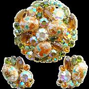 Juliana DeLizza & Elster Rhinestone Brooch Earrings Easter Egg Coral Gold Cabochon