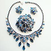 Juliana DeLizza & Elster AB Blue Rhinestone Parure Set Brooch Necklace Earrings
