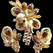 Juliana DeLizza & Elster Brooch Earrings Set Topaz Rhinestone Gold Leaf Accent