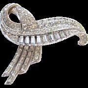 Vintage Pegasus Coro Clear Pave Rhinestone Brooch Rhodium Plated C1945