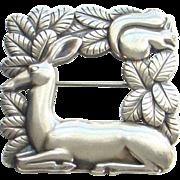 Rare Georg Jensen Sterling Silver Deer Squirrel Brooch Pin Denmark 318 Signed