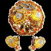 1966 Juliana DeLizza & Elster Rhinestone Brooch Earrings Demi Iridescent Rose HTF