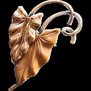 Vintage Renoir Copper Stylized Leaf Brooch Signed