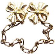 Vintage Crown Trifari Gold Tone Sweater Guard Clip Dress Clips 2 in 1 Costume Jewelry