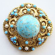 Vintage Florenza Faux Turquoise Pearl Rhinestone Pin Brooch Signed