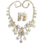 Vintage DeLizza & Elster Rhinestone Bib Necklace Earrings Clear Bead Dangles