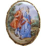 Vintage Oval Porcelain Brooch Pin Hand Painted Design 18th Century Couple Man Woman Pastoral R