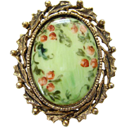 Vintage Hand Painted Porcelain Brooch Victorian Style Pink Floral Flowers Scroll Holly Leaf ..